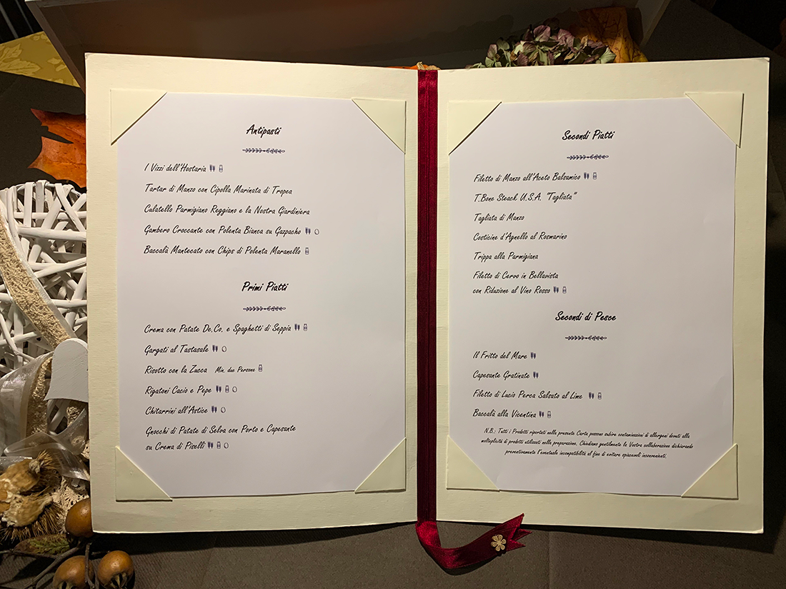 hostaria a le bele menu interno